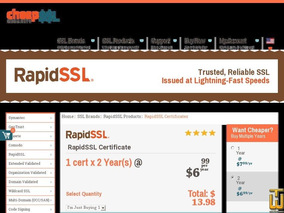 Screenshot of RapidSSL Certificate from cheapsslsecurity.com