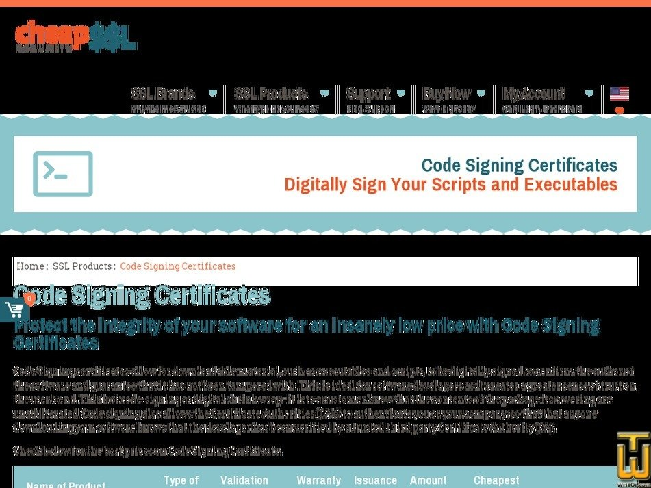 Screenshot of Code signing Certificates from cheapsslsecurity.com
