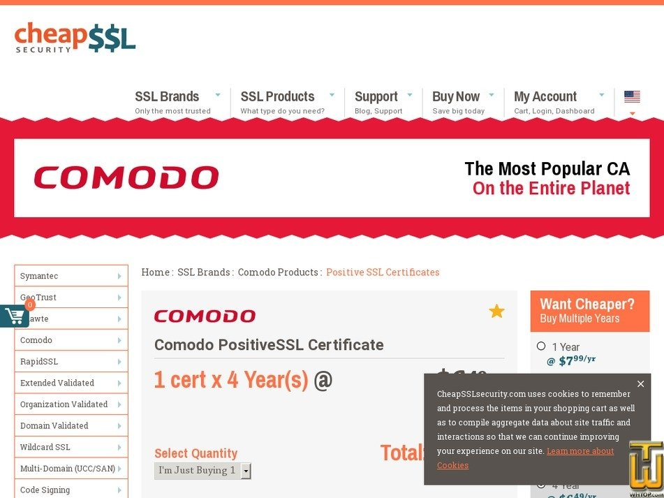 Screenshot of Comodo PositiveSSL Certficate from cheapsslsecurity.com
