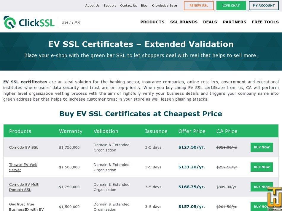 Screenshot of EV SSL Certificates from clickssl.net