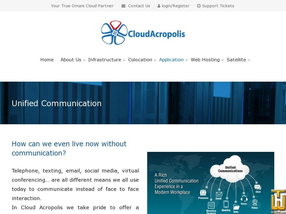 Screenshot of Unified Communication from cloudacropolis.com