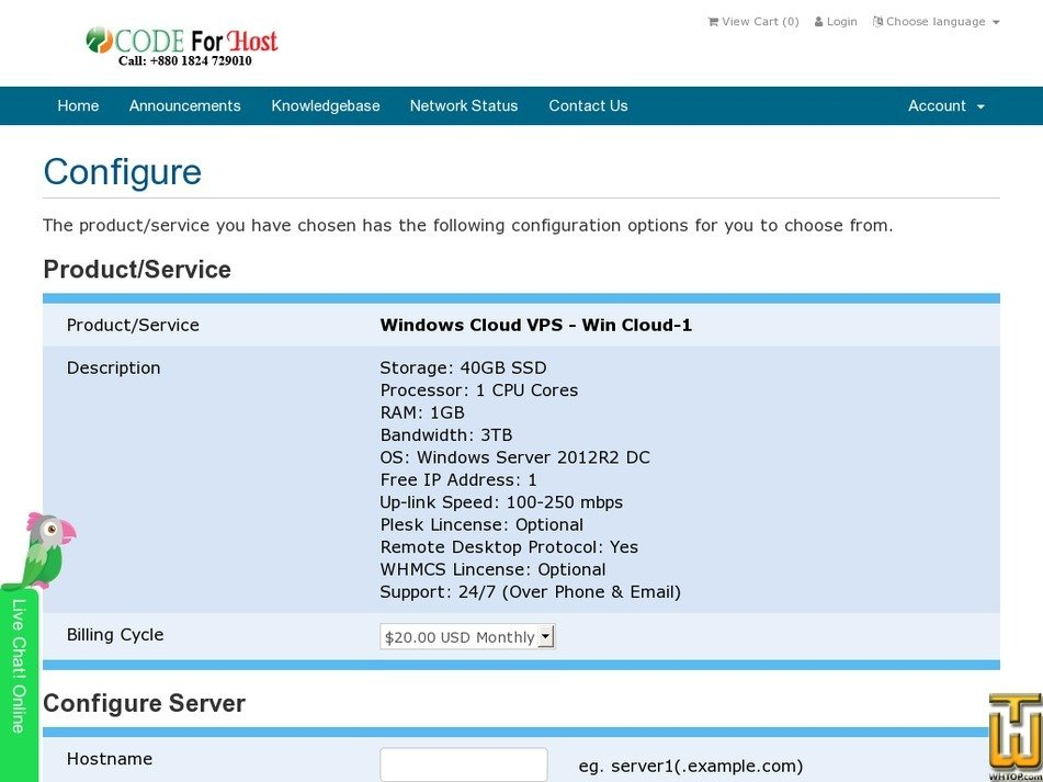 Screenshot of Win Cloud-1 from codeforhost.com