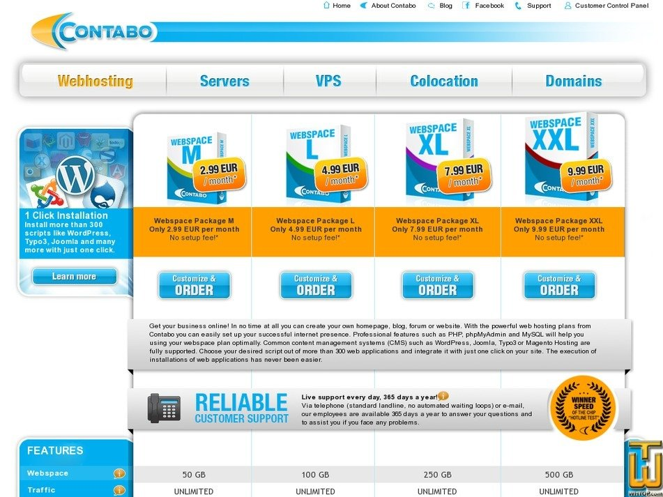 Screenshot of Webspace Package L from contabo.com