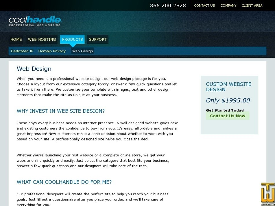 Screenshot of Custom Website Design from coolhandle.com