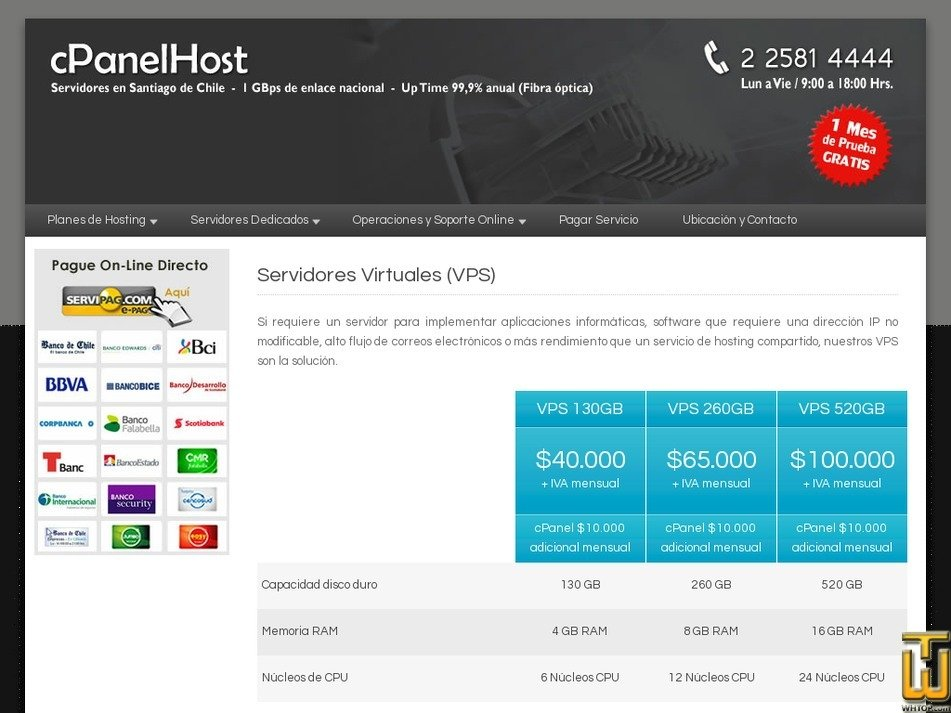 Screenshot of VPS 130GB from cpanelhost.cl