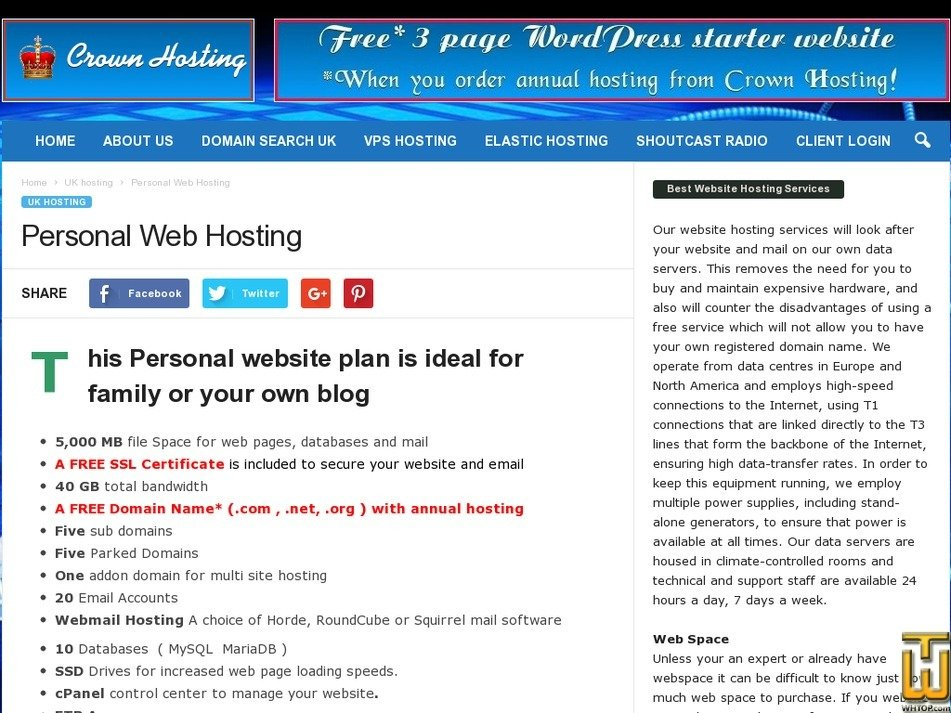 Screenshot of Wordpress Hosting from crownhosting.co.uk