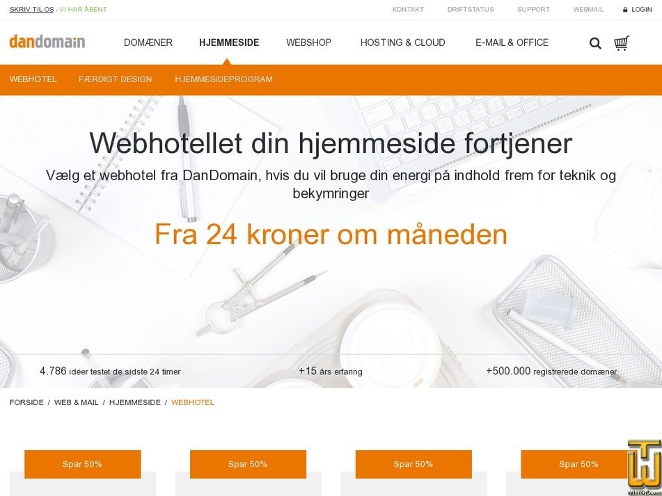 Screenshot of Web solution from dandomain.dk