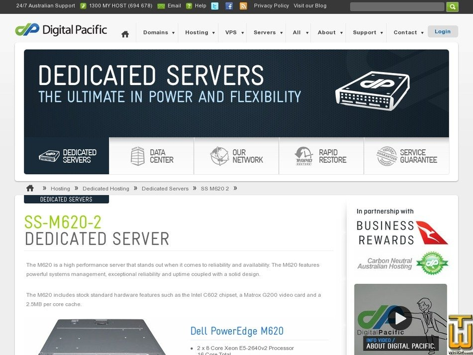 Screenshot of Dedicated Dell PowerEdge SS-M620-2 from digitalpacific.com.au