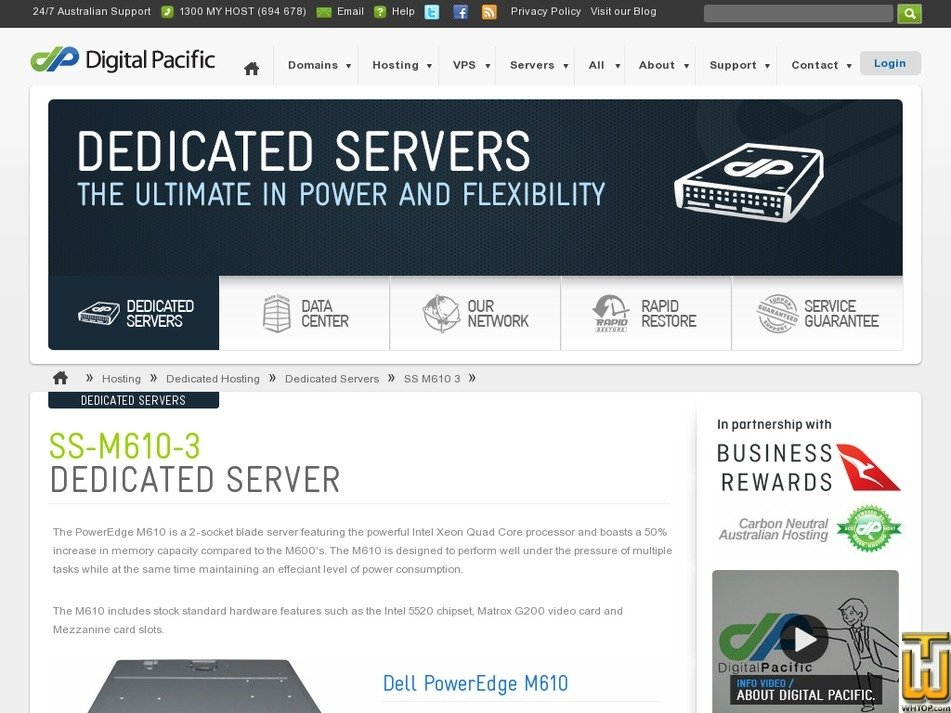 Screenshot of Dedicated Dell PowerEdge SS-M610-3 from digitalpacific.com.au