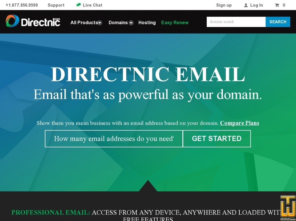 Screenshot of Pro Email from directnic.com