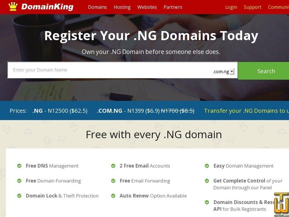 Screenshot of .NG Domains from domainking.ng