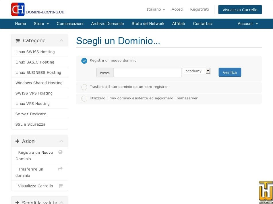 Screenshot of cPanel SWISS double from domini-hosting.ch