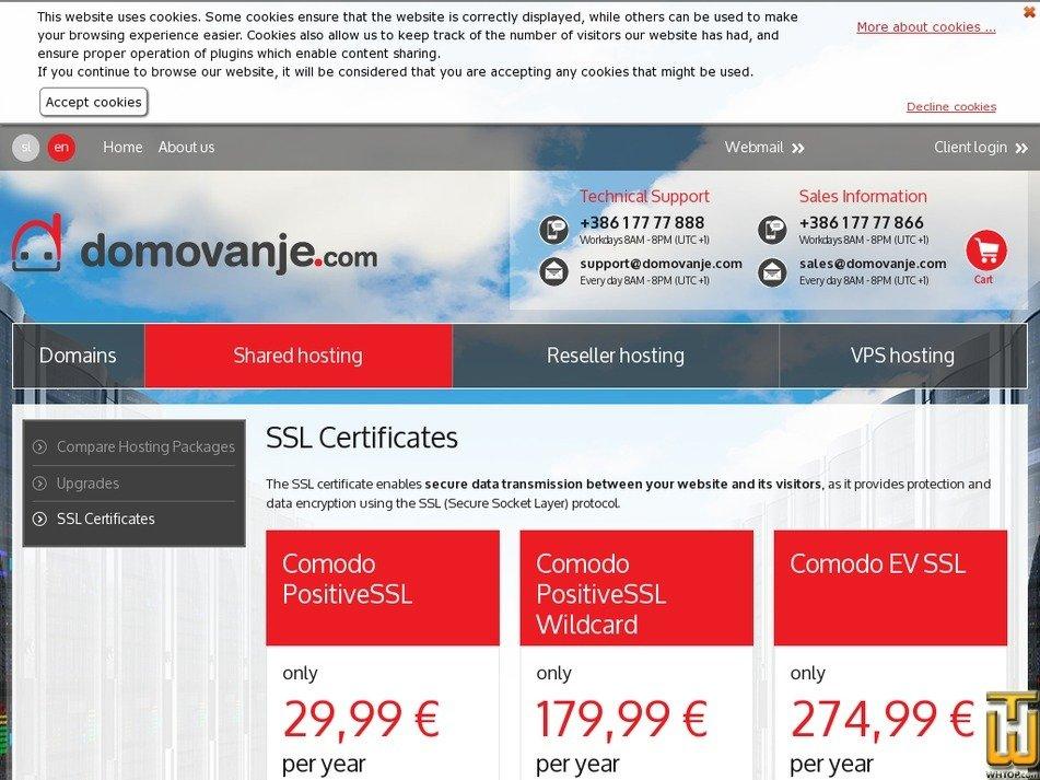 Screenshot of Comodo PositiveSSL Wildcard from domovanje.com