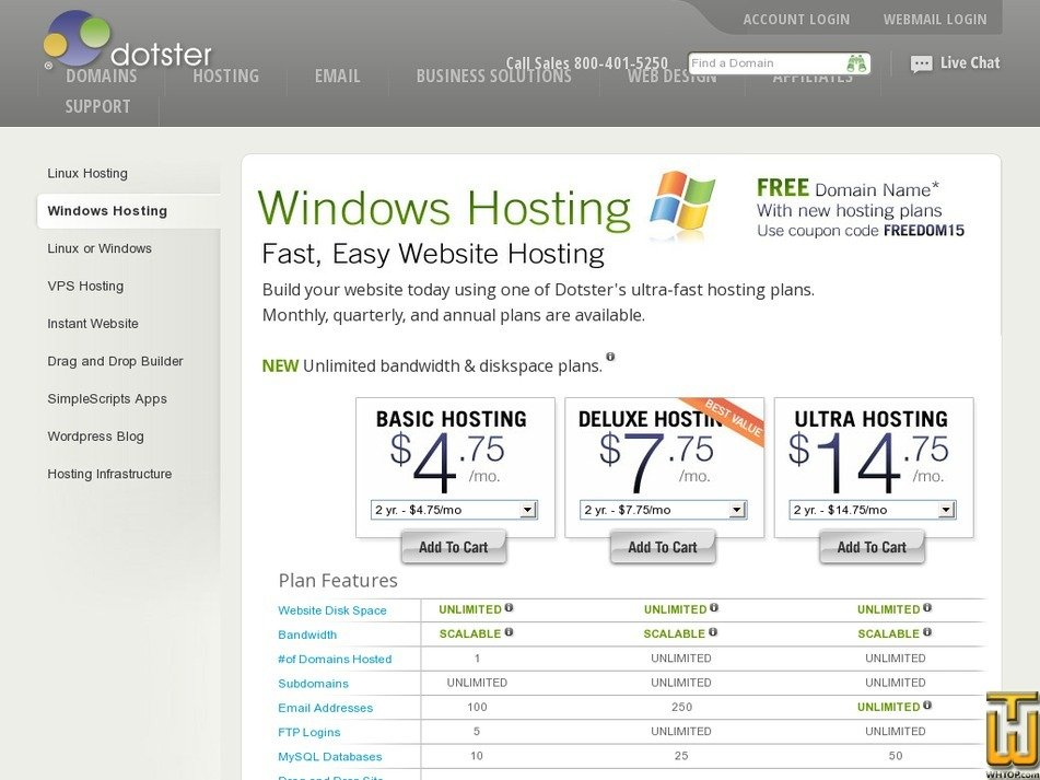 Screenshot of Basic Hosting from dotster.com