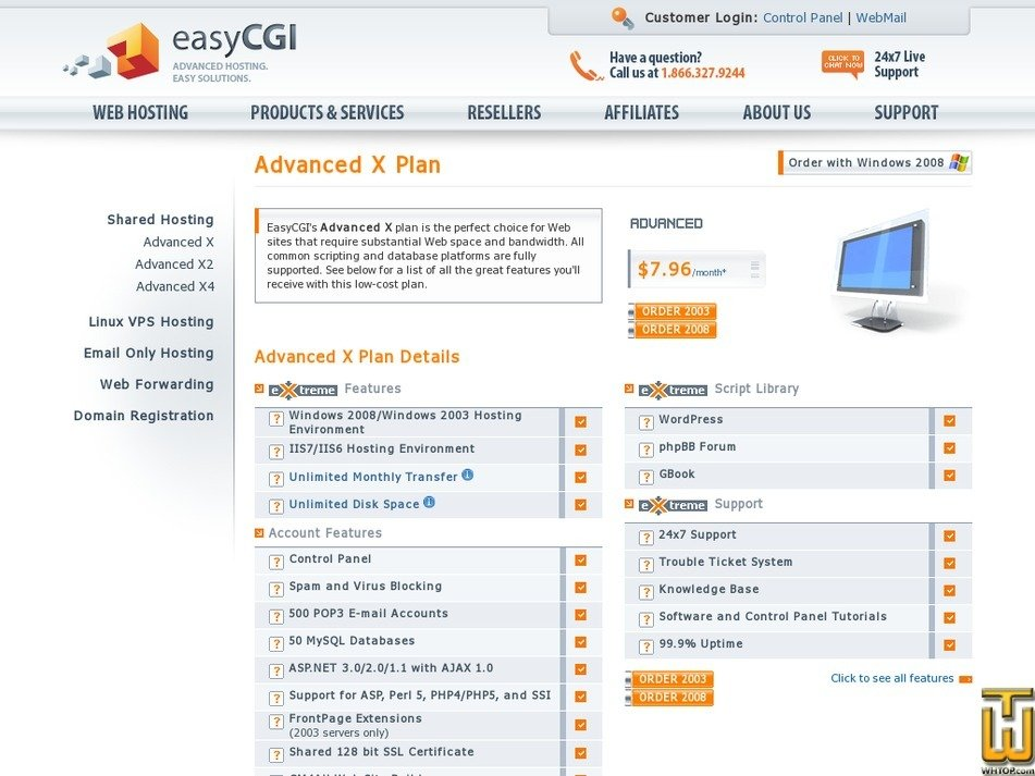 Screenshot of Advance X from easycgi.com