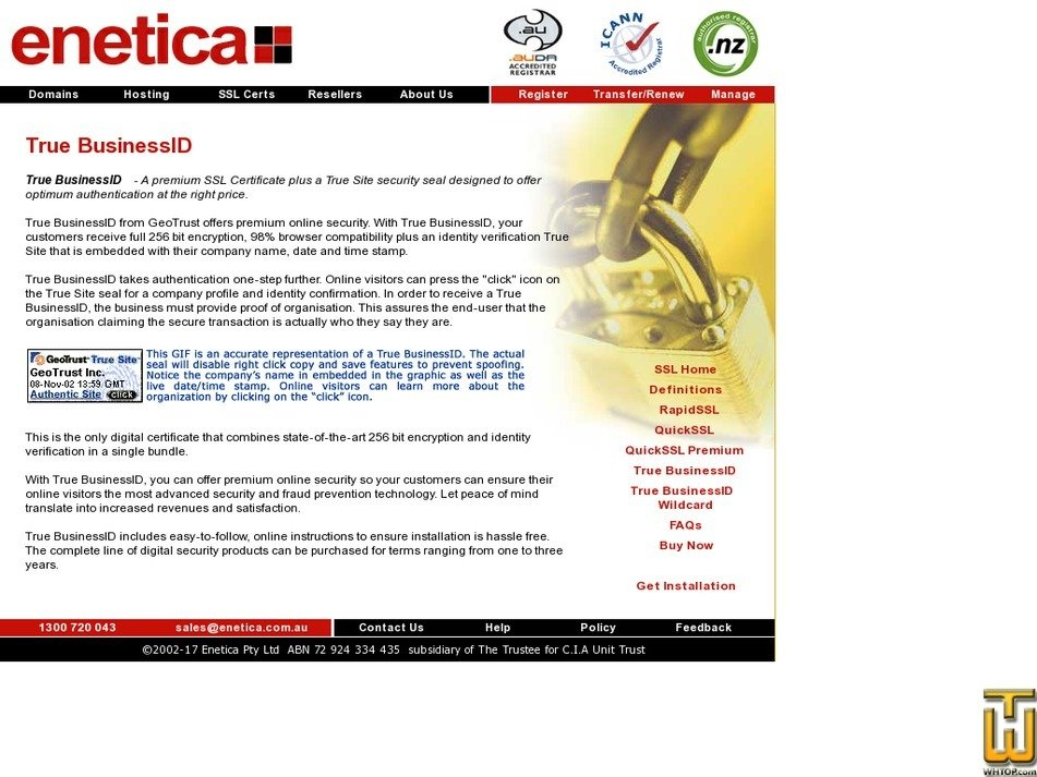 Screenshot of True BusinessID from enetica.com.au