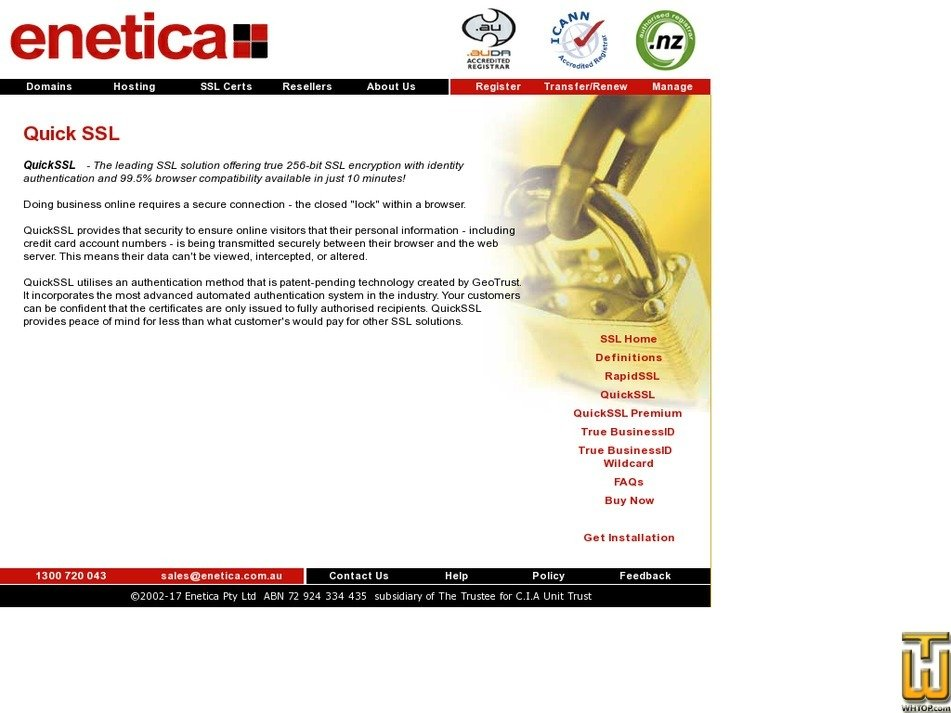 Screenshot of QuickSSL from enetica.com.au
