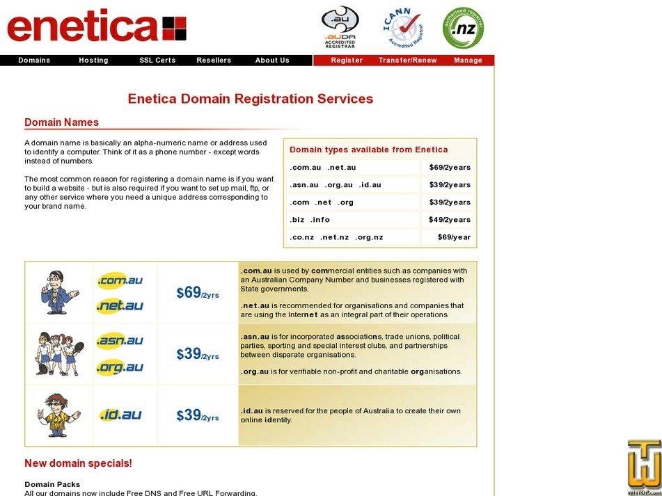Screenshot of .com .net .org from enetica.com.au