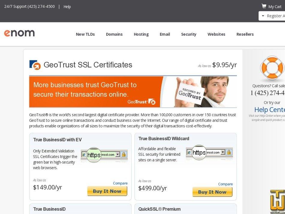Screenshot of True BusinessID with EV from enom.com