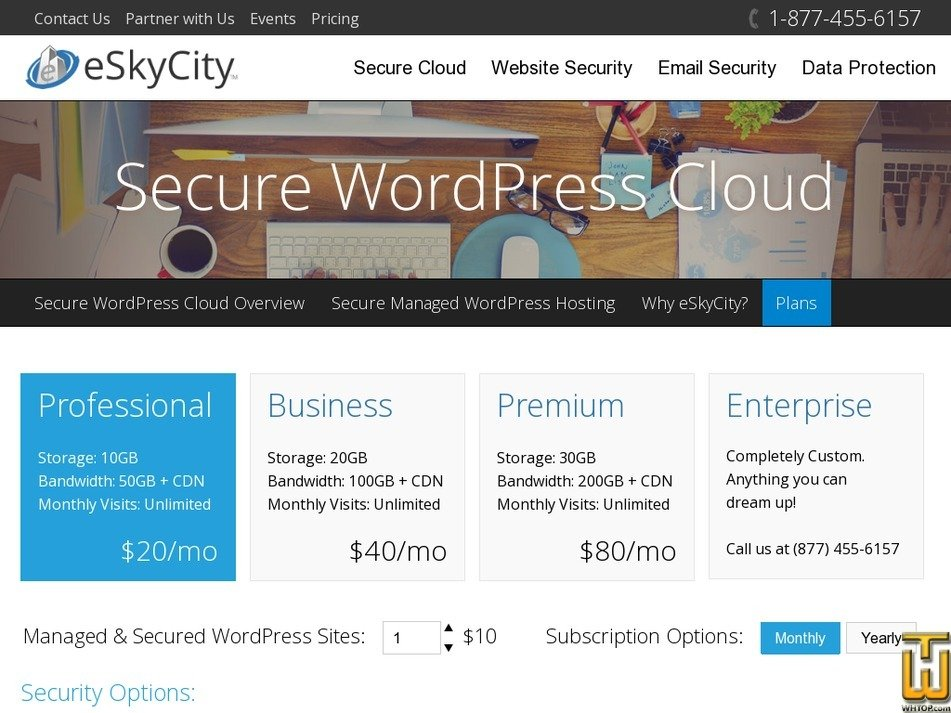 Screenshot of Secure WordPress Cloud Professional from eskycity.com