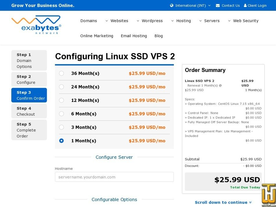 Screenshot of SSD VPS 8 from exabytes.com