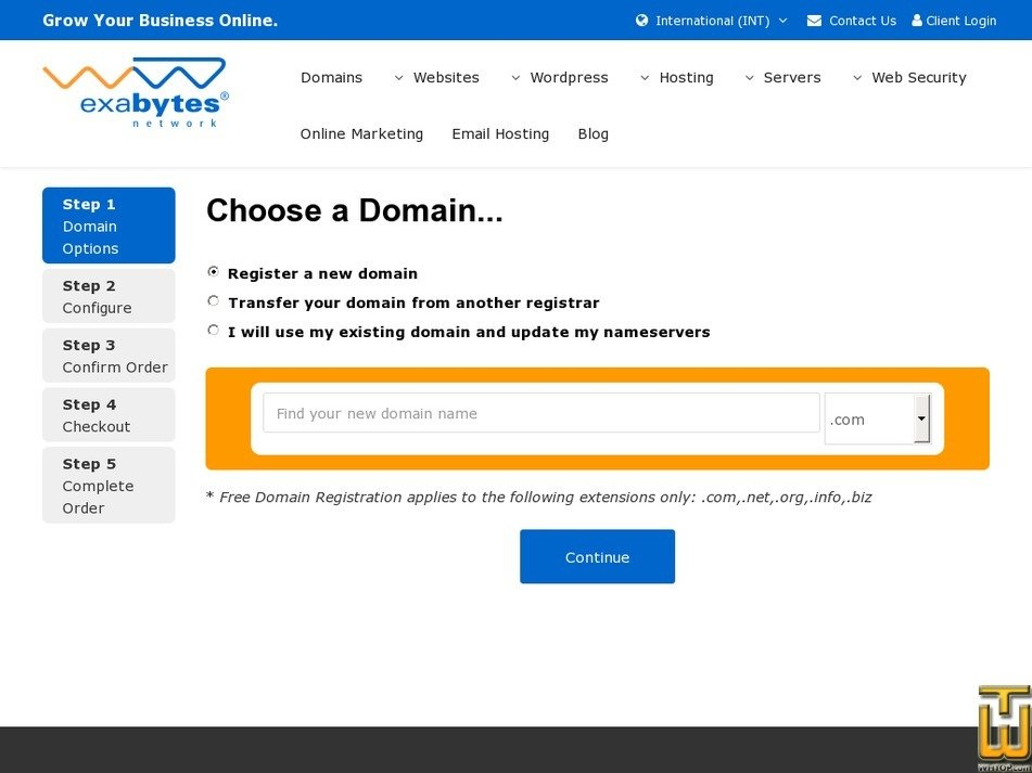Screenshot of Basic WordPress Hosting from exabytes.com