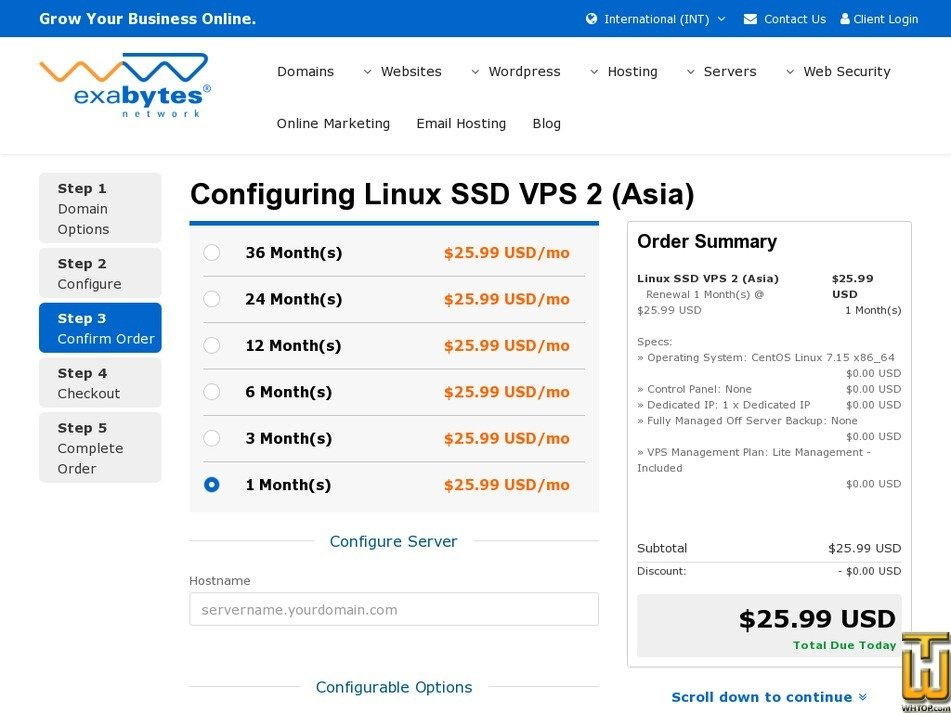 Screenshot of Asia SSD VPS 2 from exabytes.com
