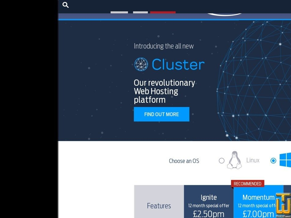Screenshot of Ignite from fasthosts.co.uk