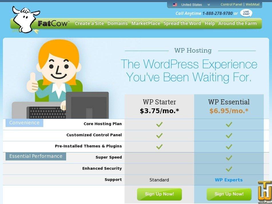 Screenshot of WP Starter from fatcow.com