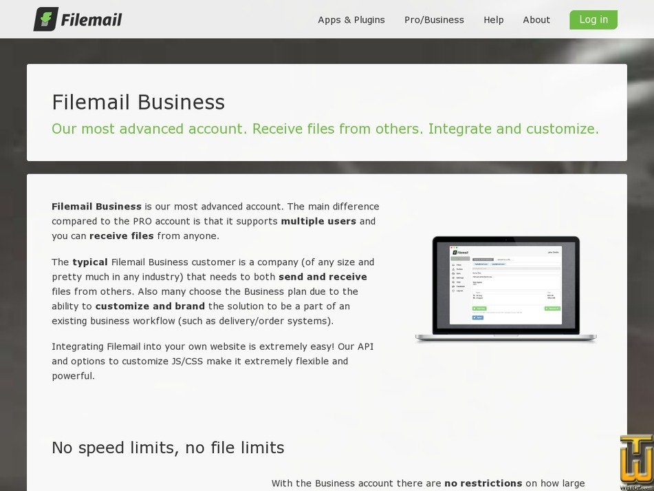 Screenshot of FILEMAIL BUSINESS from filemail.com