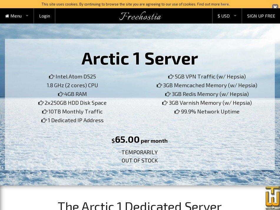Screenshot of Arctic 1 Server from freehostia.com