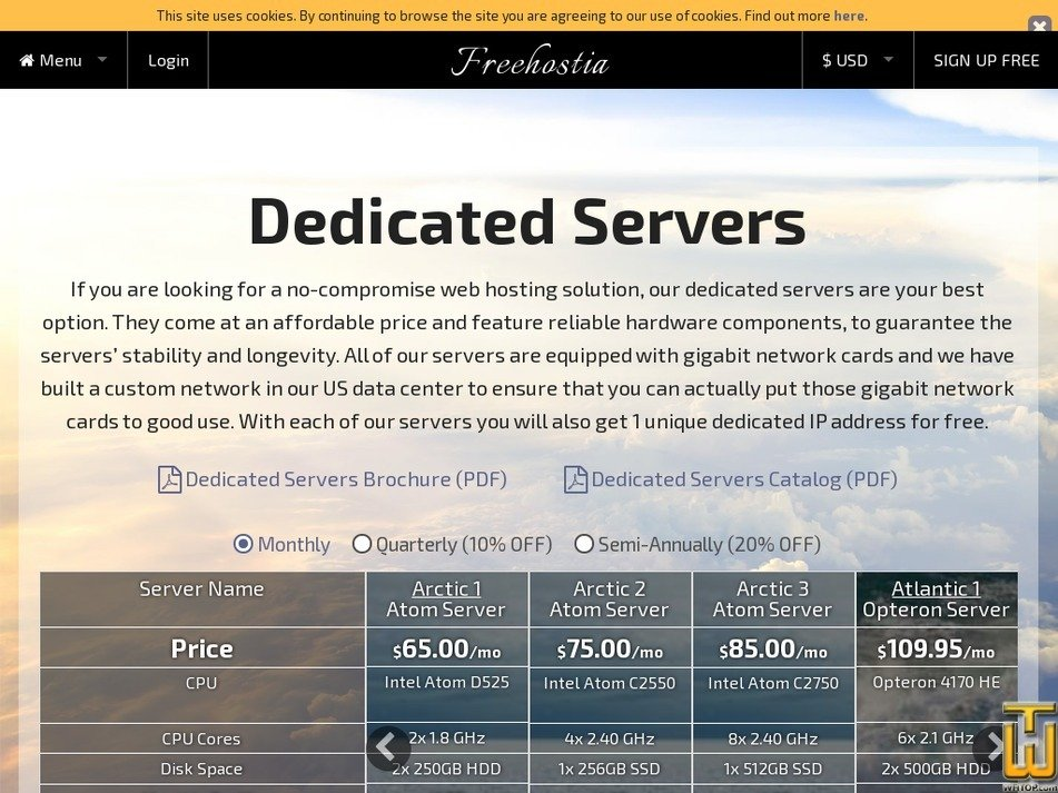 Screenshot of Pacific 6 Xeon Server from freehostia.com