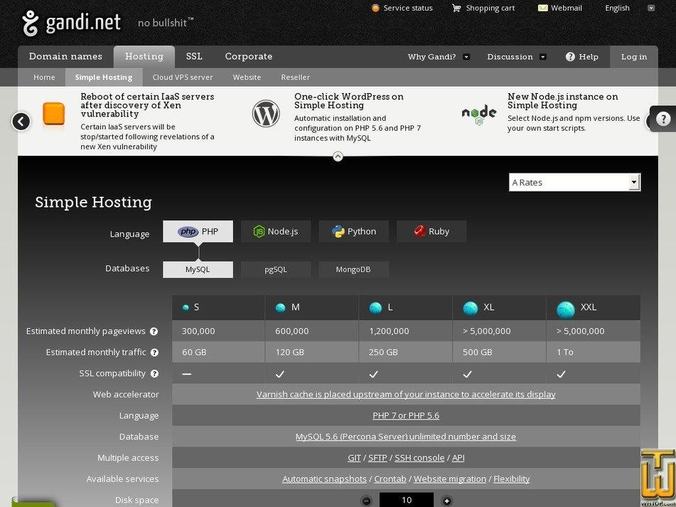 Screenshot of S from gandi.net