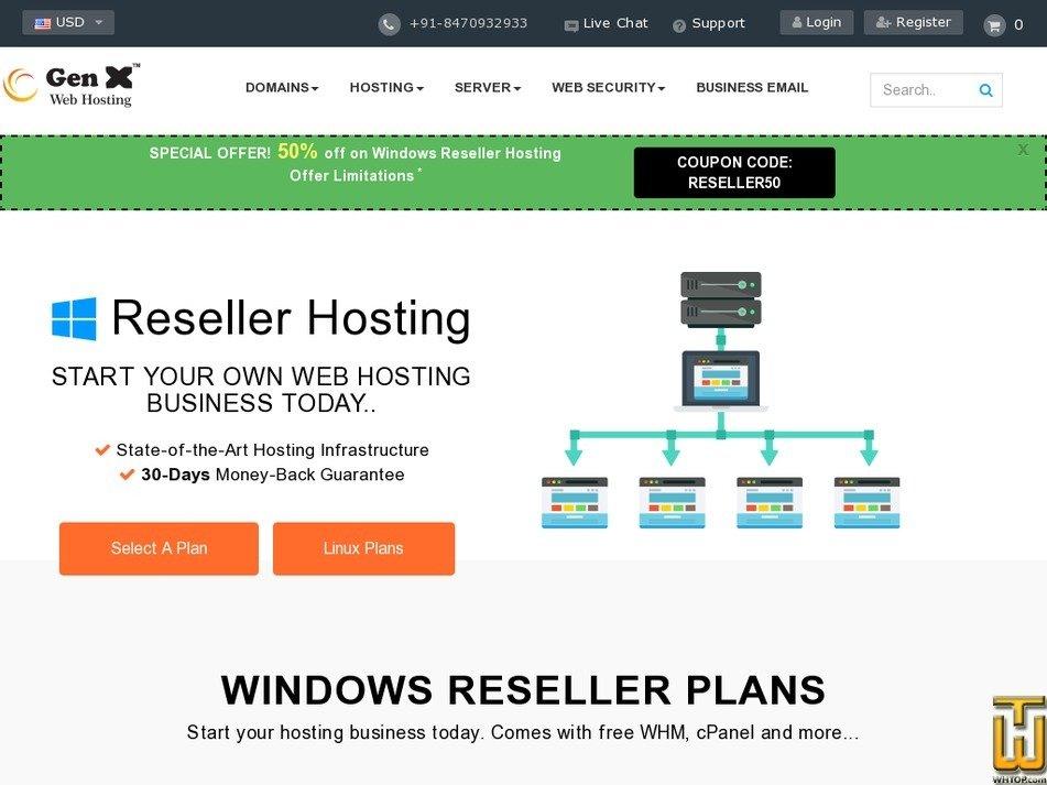 Screenshot of Premium from genxwhosting.com
