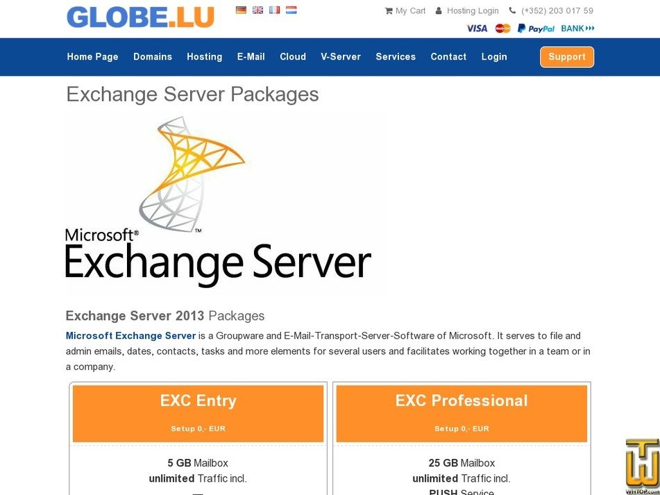Screenshot of Exchange Enterprise from globe.lu