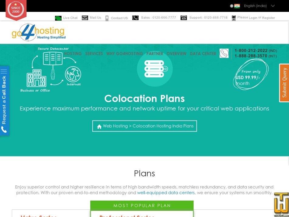 Screenshot of Value Series from go4hosting.com