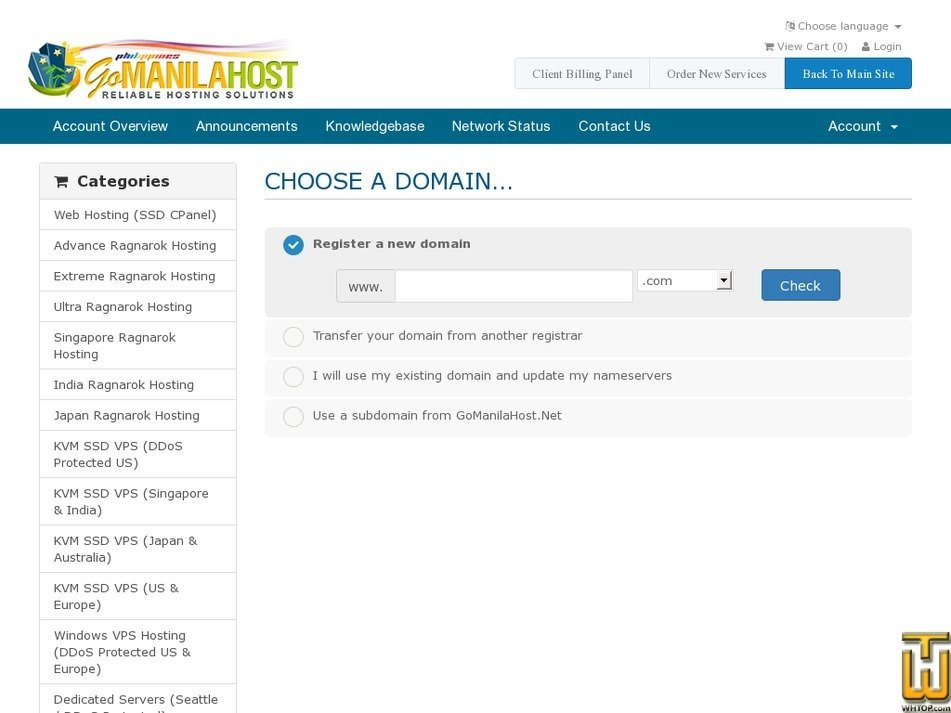 Screenshot of Starter Web Hosting plan from gomanilahost.net