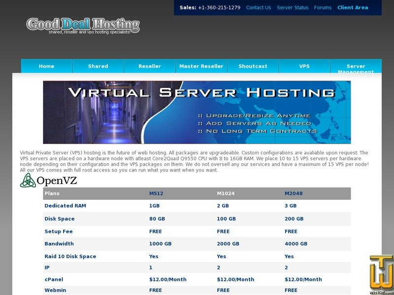 Screenshot of VPS Plan I from goodealhosting.cn
