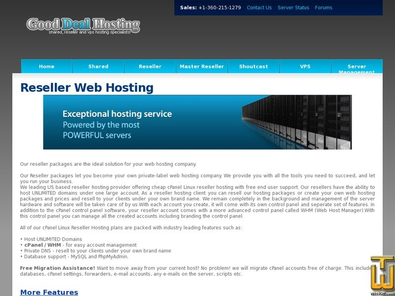 Screenshot of Reseller Starter from goodealhosting.cn
