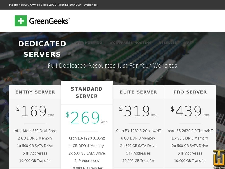 Screenshot of Entry Server from greengeeks.com
