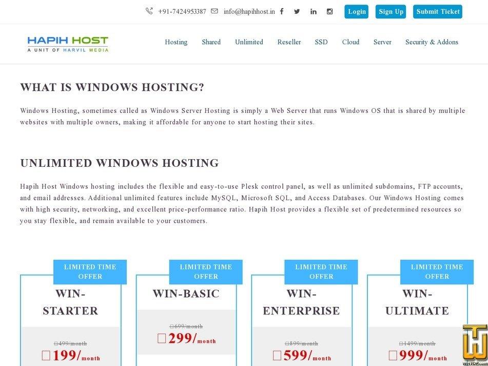 Screenshot of WIN-ENTERPRISE from hapihhost.in