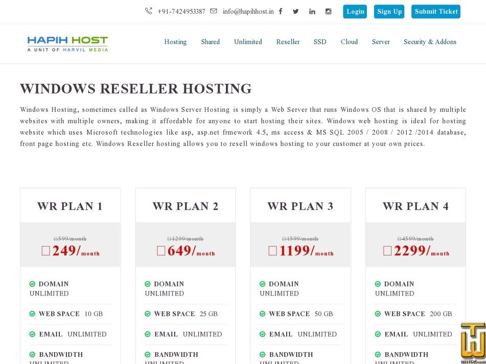 Screenshot of WR PLAN 2 from hapihhost.in