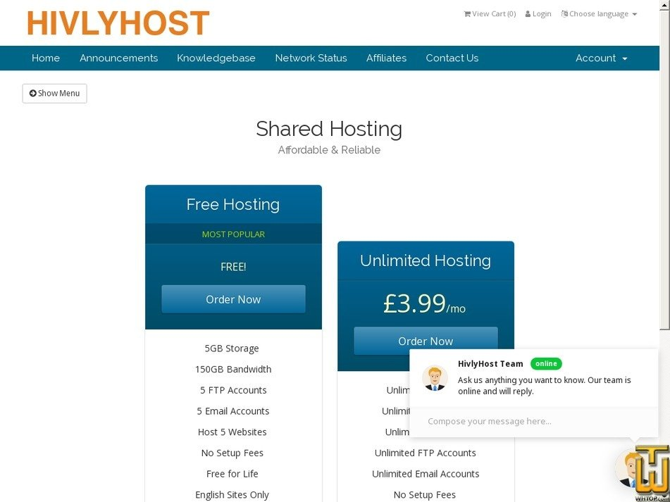 Screenshot of Free Hosting from hivlyhost.com