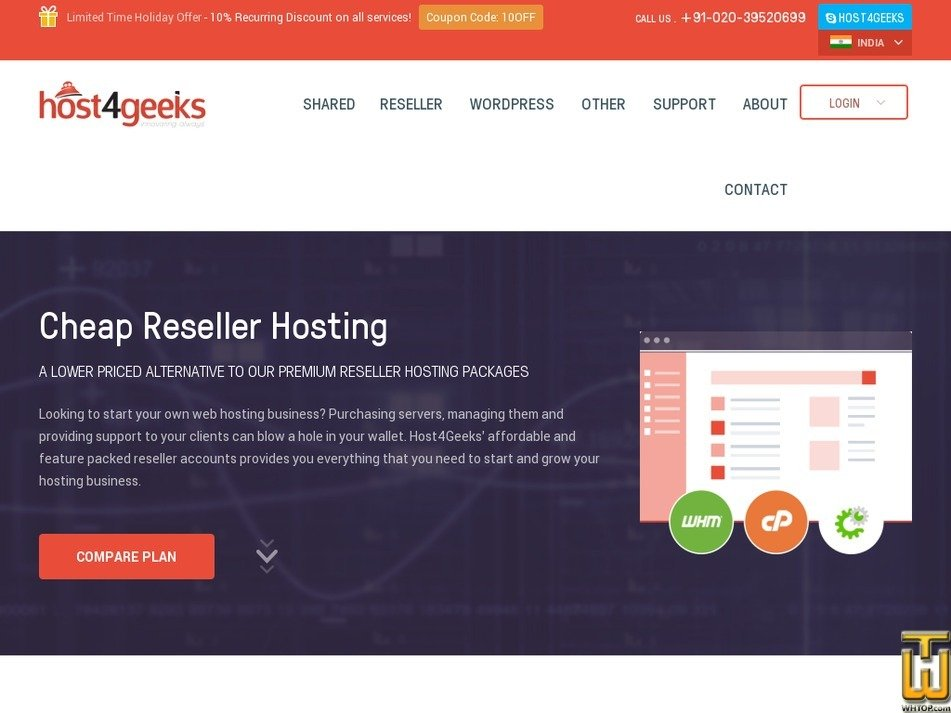 Screenshot of Cheap Reseller Hosting RS XL from host4geeks.in