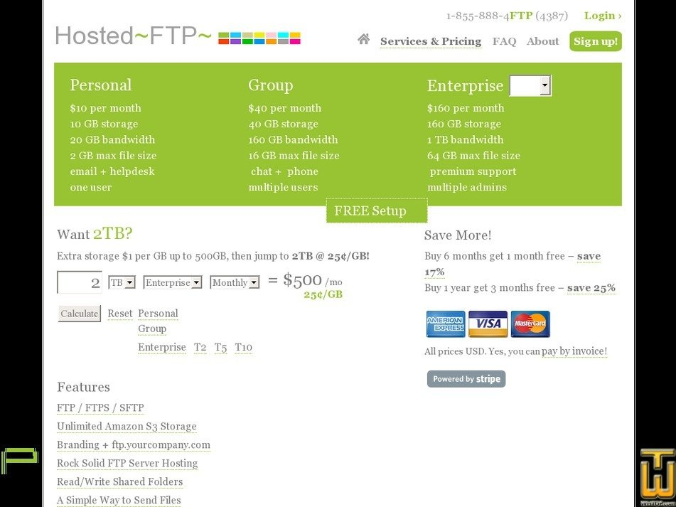Screenshot of Enterprise T2 from hostedftp.com