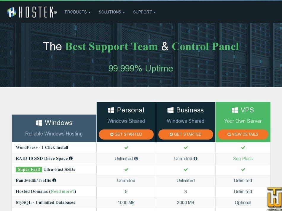 Screenshot of Business from hostek.com