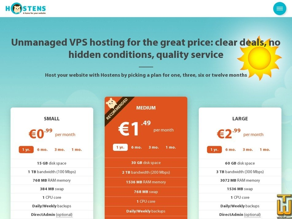 Screenshot of Large from hostens.com