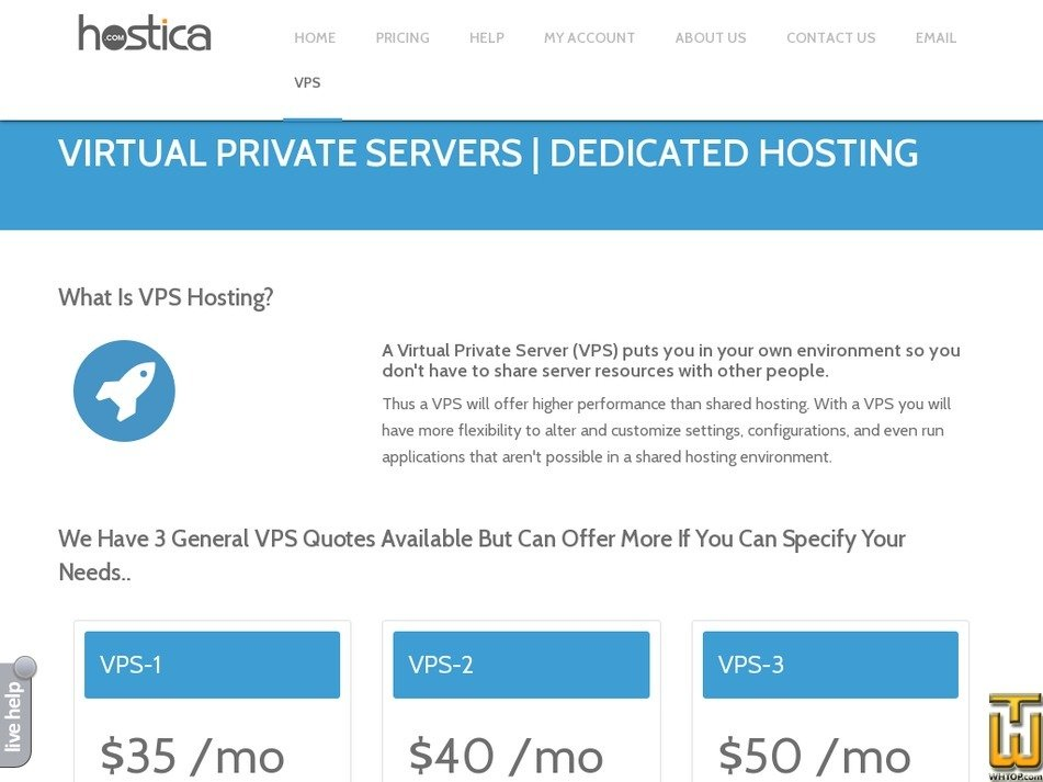 Screenshot of VPS-1 from hostica.com