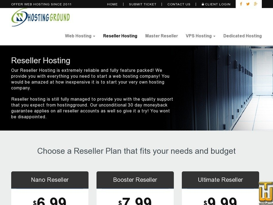 Screenshot of Booster Reseller from hostingground.com