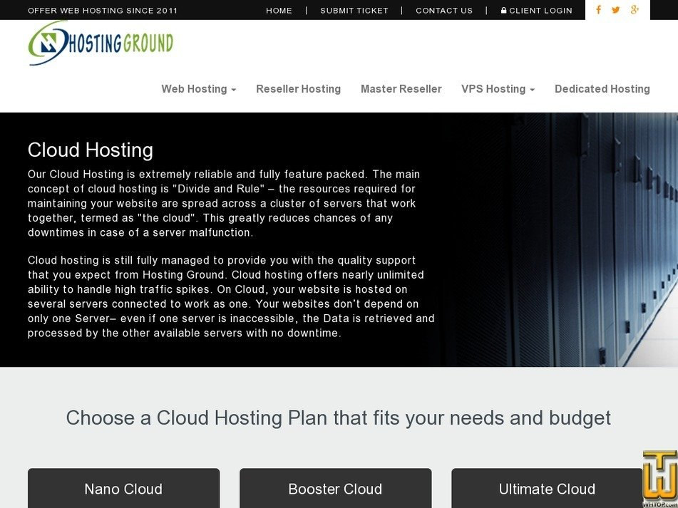 Screenshot of Booster Cloud from hostingground.com